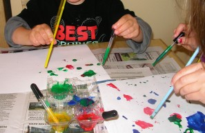 Painting Paint Drops with Wind (Air) Using Straws